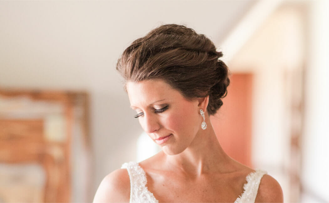 Brides and wedding party receive hair and makeup by our pros!